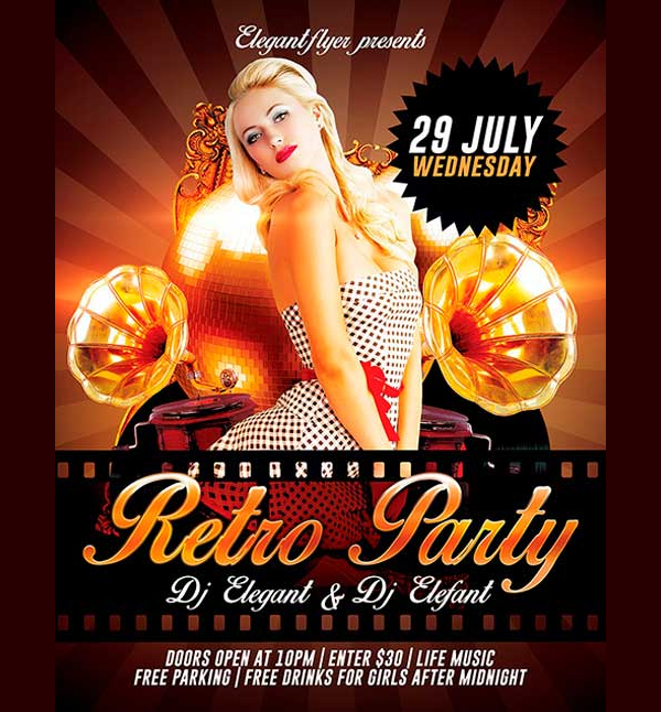 Free Retro Party PSD Flyer Template