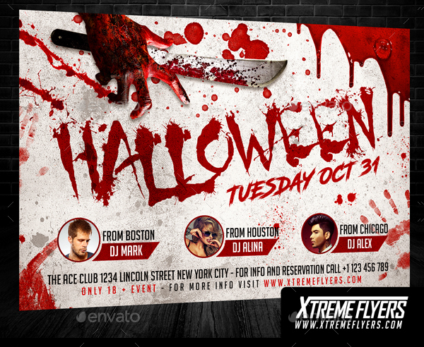 Editable Halloween Party Template Flyer