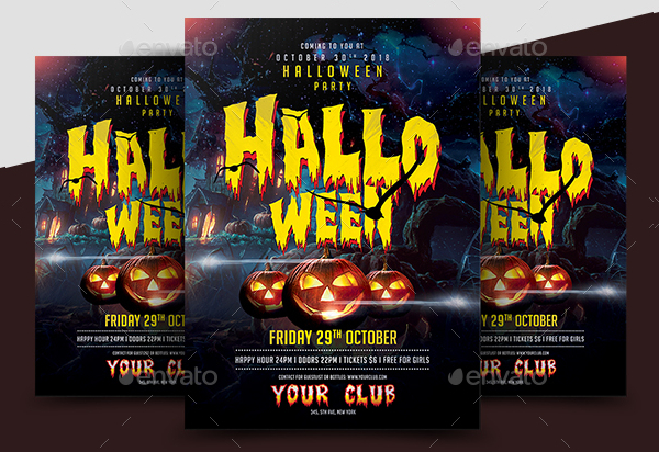 Halloween Club Party Flyer Template
