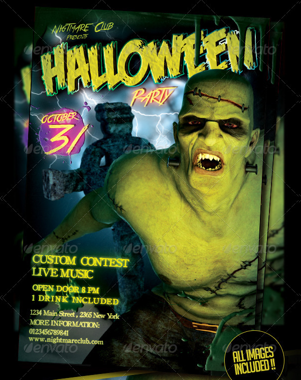Halloween Frankie Party Flyer Template