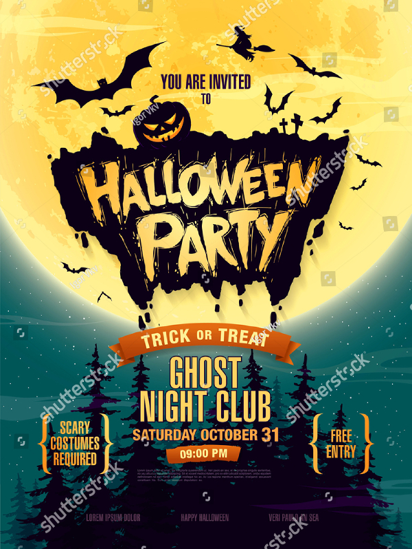 Halloween Ghost Night Club Party Flyer Template