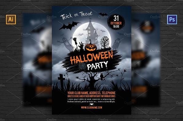 PSD Attractive Halloween Party Invitation Flyer
