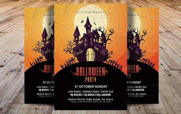 Vintage Halloween Party Template Flyer