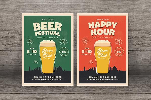 Beer Happy Hour Festival Flyer Template