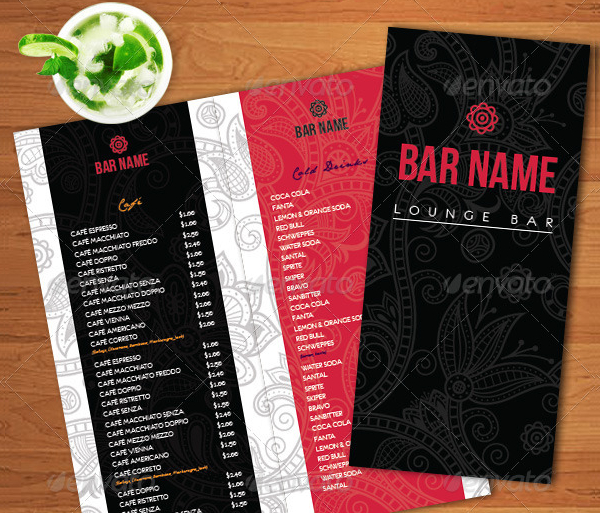 Bar Menu Template   Free  Premium Download