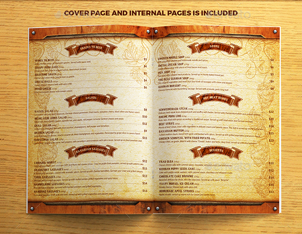 Restaurant menu template free premium download