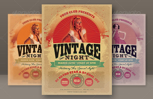 Cool Vintage Party Flyer Template