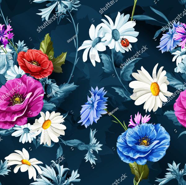 Seamless Pattern Poppy Flowers
