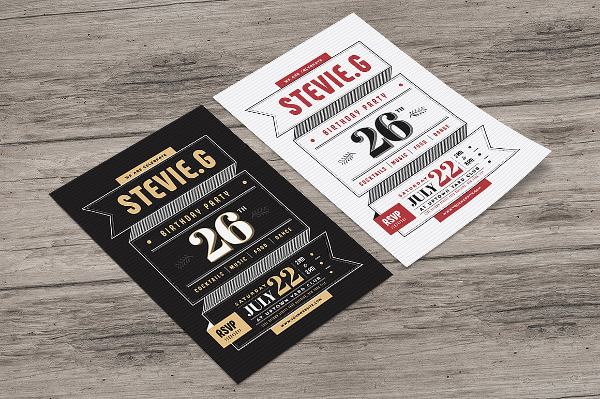 Vintage Birthday Party Flyer Template