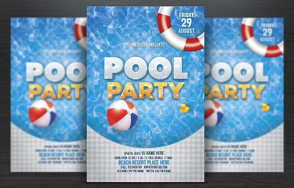 Vintage Pool Party Flyer Template