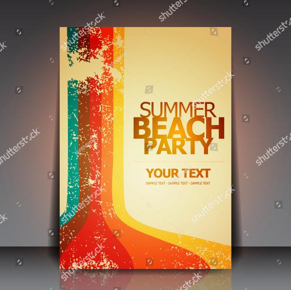 Vintage Summer Beach Retro Party Flyer