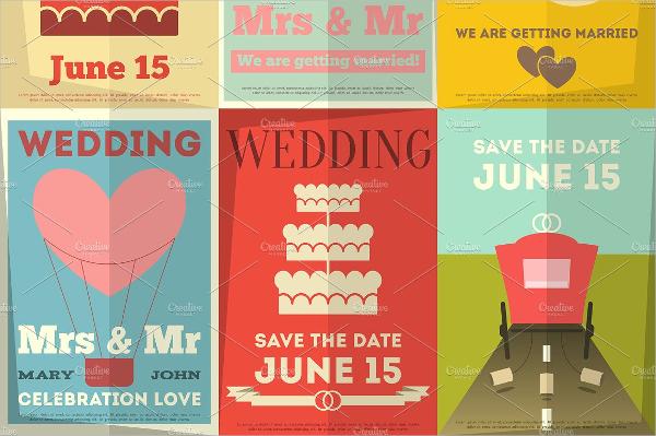 Set Of Wedding Vintage Poster Template