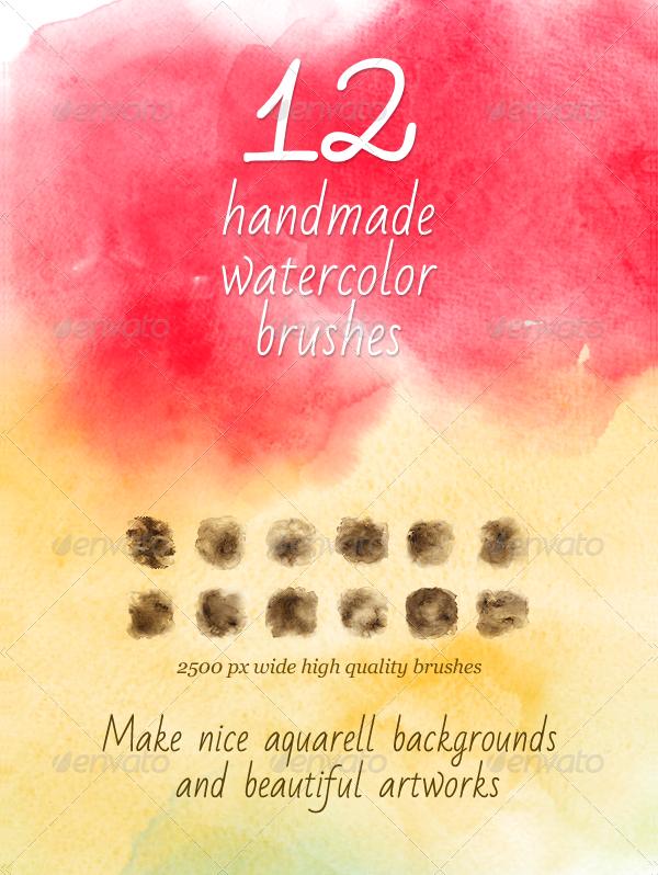 12 Watercolor Handmade PSD Brushes