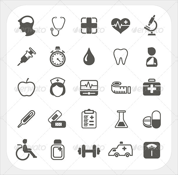 Clean Medical Health Icons Set