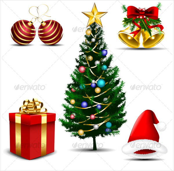 Five Christmas Vector Icons Template