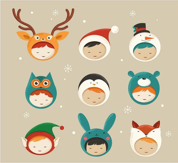 Cute Christmas Kids Icons