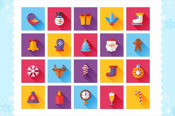 Colorful Christmas Flat Icons Set