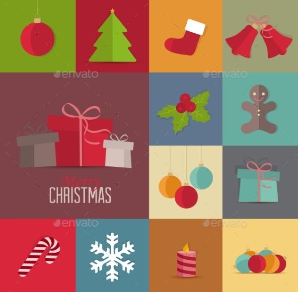 Christmas Retro Icons Template