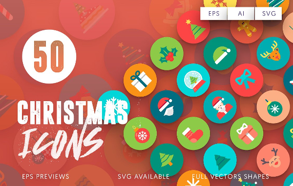 50 Christmas Flat Icons
