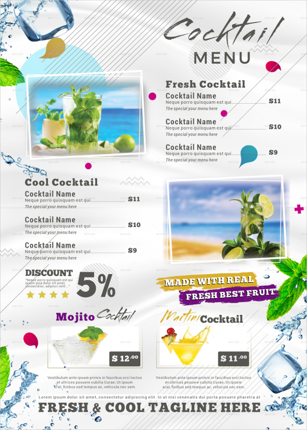 Fresh And Cool Cocktail Menu Template