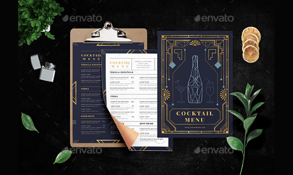Art Deco Cocktail Menu Template
