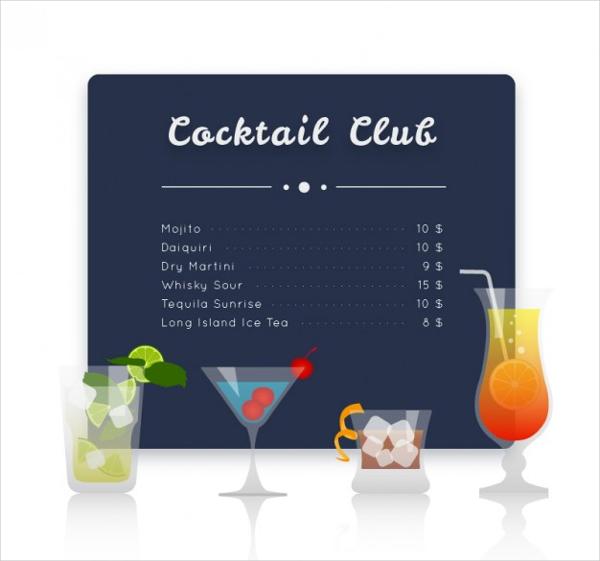 Cocktail Club Menu Free Vector Template