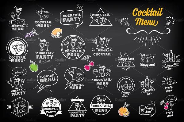 Cocktail Doodles Menu Template