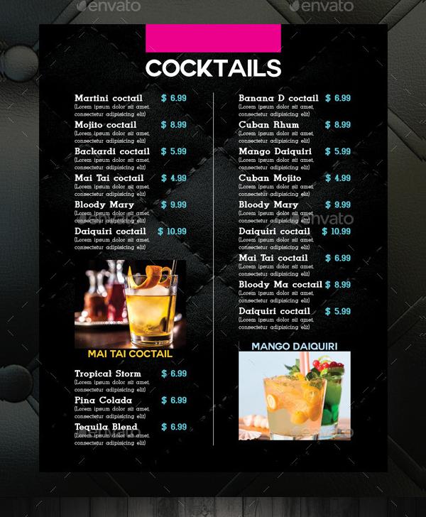 Best Cocktail Drinks Menu Template