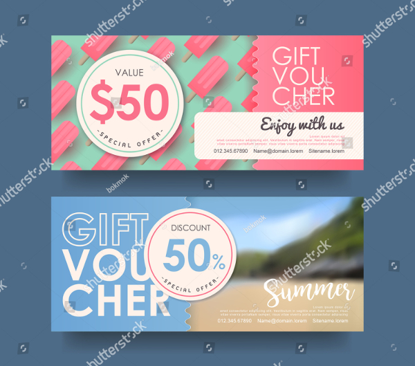 Colorful Summer Discount Gift Voucher Template