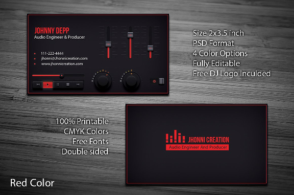 DJ Business Cards Free Premium PSD Ai Format Download - Free dj business card template