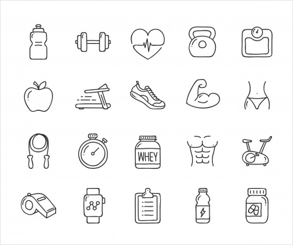 Free Doodle Health and Fitness Icons