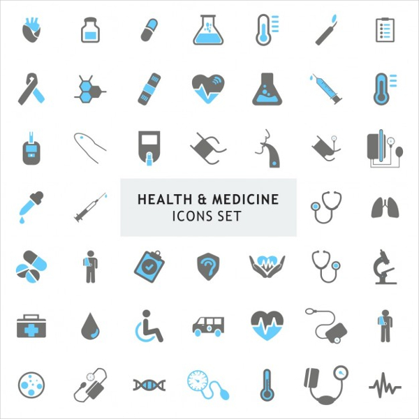 Free Vector Health and Medicine Icons Set
