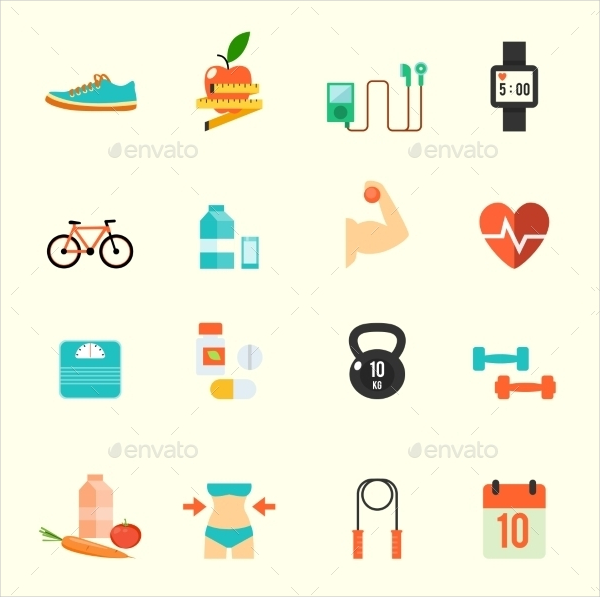 Fitness and Health Design Icons Background