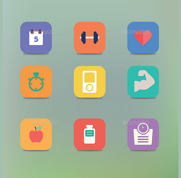 Flat Design Healthy Icons Template