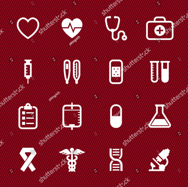 Medical Icons on Red Background