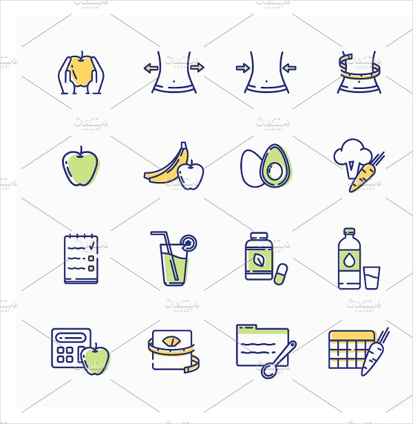 Healthy Lifestyle Icons Template