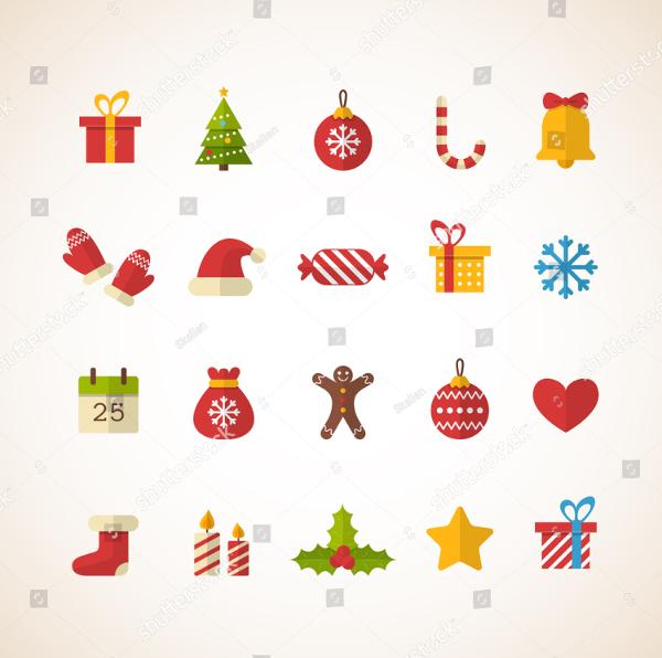 Flat Christmas Vector Design Icons
