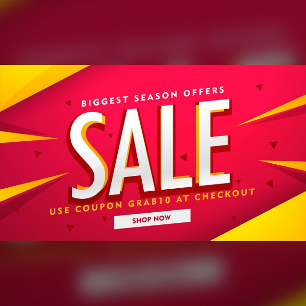 Red Discount Voucher With Yellow Geometric Shapes Free