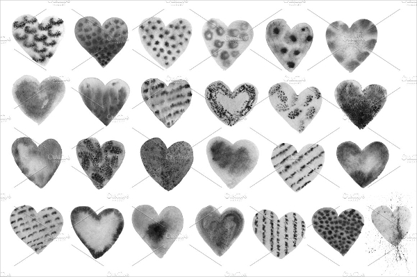 Watercolor Heart Photoshop Brushes