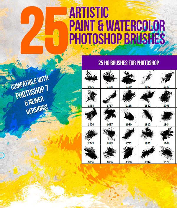 Watercolor Artistic Paint Photoshop Brushes