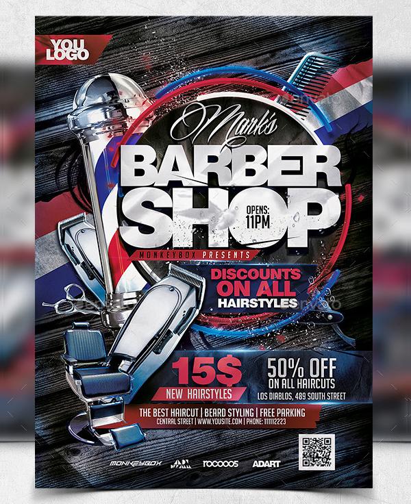 Attractive Barber Shop Flyer Design