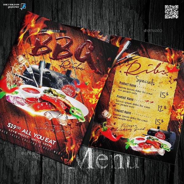 BBQ Ribs Menu Template Design