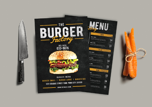 BBQ Burger Factory Menu Template