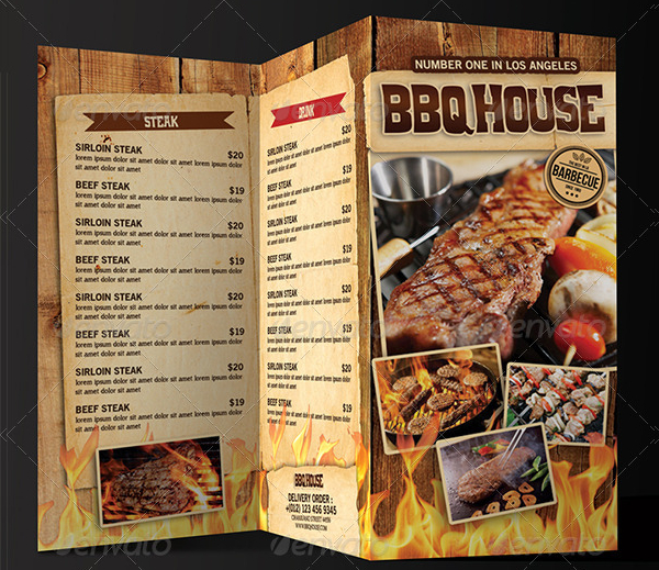Attractive BBQ Steak Menu Template