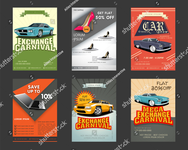 Six Car Show Vector Flyers Collection