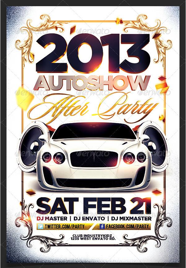 Auto Show Gold Design Flyer Template