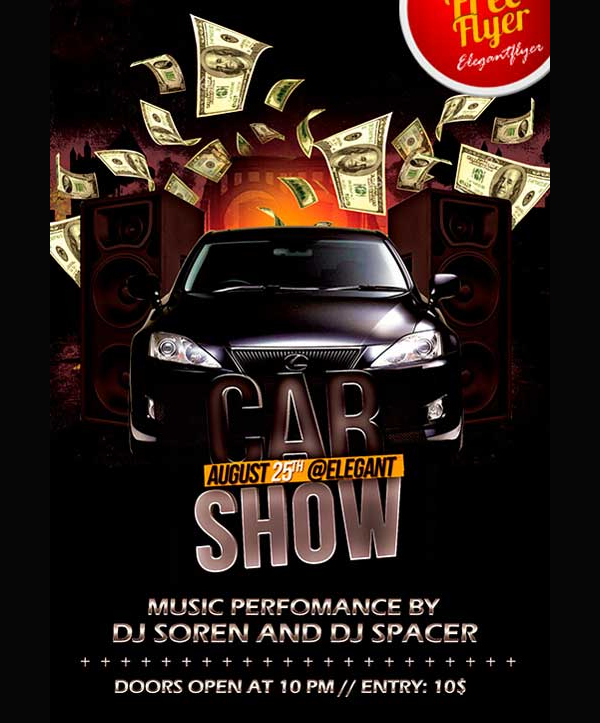 Free Car Show PSD Party Flyer Template