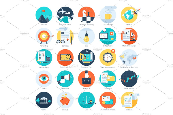 Colorful Business And Finance Icons
