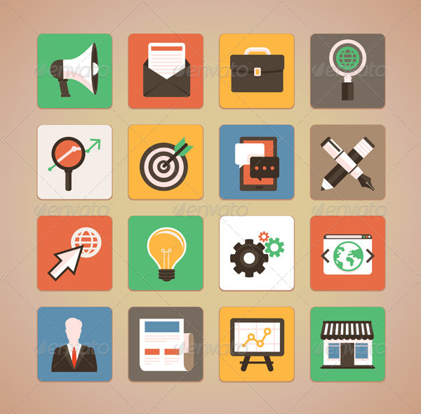 Trendy Icon Set For Internet Marketing