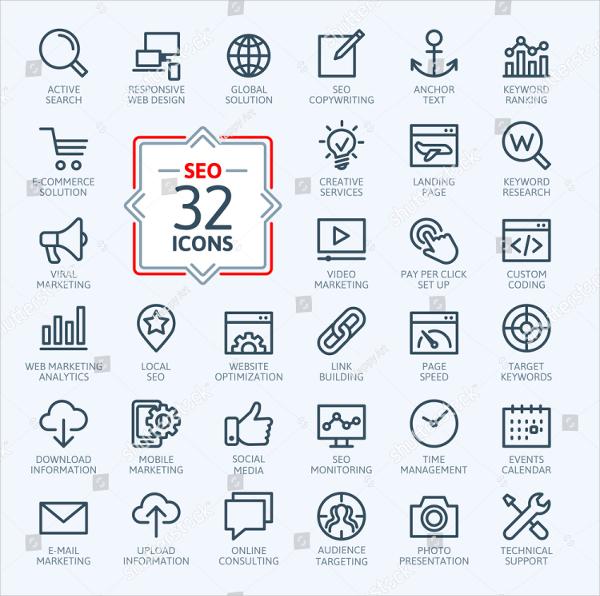 Marketing Outline Web Icon Set